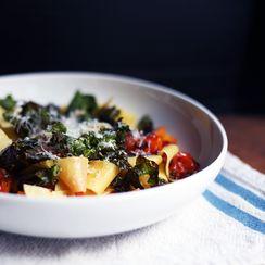 Crispy Kale, Roasted Butternut Squash & Tomato Pappardelle