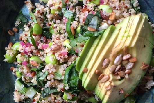 Quinoa and Edamame Salad with Basil, Mint, and Lemon