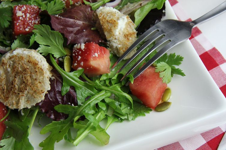 Pink Moscato soaked watermelon, baby lettuce & goat cheese crunchy toast salad