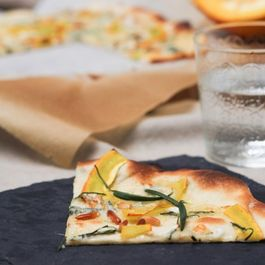Tarte Flambee With Pumpkin, Blue Cheese and Rosemary
