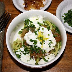 Zucchini Pasta With Creamy Yogurt And Caramelized Onions