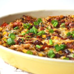 Mexican Quinoa Casserole ~ Cheese, Potatoes & Crumbled Bacon On Top