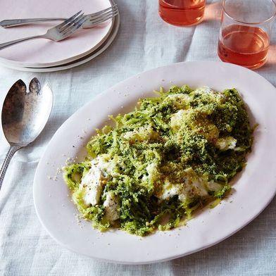 Spaghetti Squash with Kale Pesto and Burrata