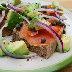 Smoked Salmon Tartine with Red Onion, Capers & Avocado