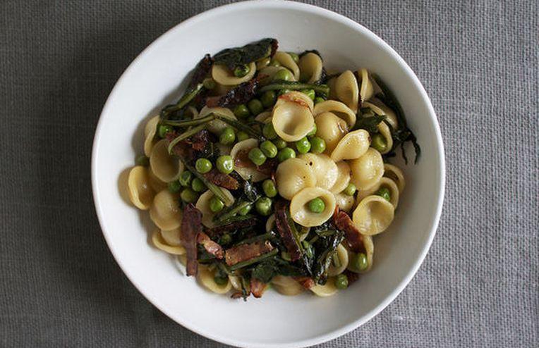 Orecchiette with Crispy Salami, Peas + Dandelion Greens