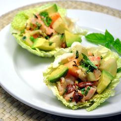 Shrimp, Melon, and Cucumber Salad with Spicy Mayonnaise