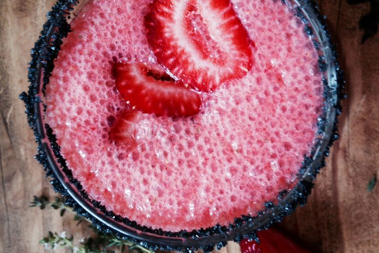 Strawberry Thyme Margaritas with Black Lava Salt