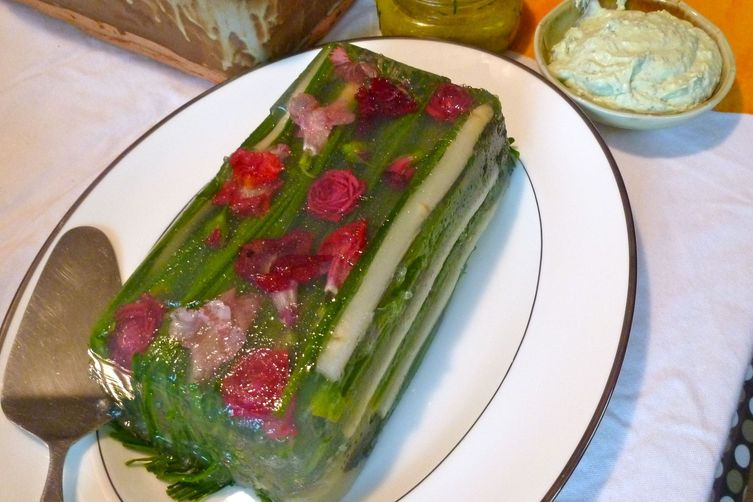 White and Green Asparagus in Lemongrass Aspic