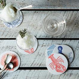 Sea Letterpress Coasters (Set of 16)