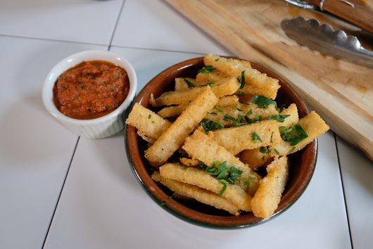 Fried Grits with Tomato-Caper Dipping Sauce