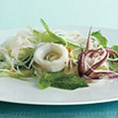 Asian Rice noodles salad with Calamari and Herbs