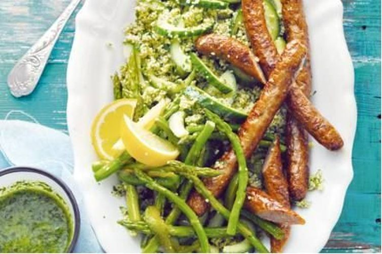 Lamb Sausages with Salsa Verde and Couscous