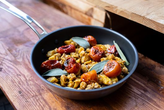 Stewed celeriac with chickpeas and slow roasted tomatoes
