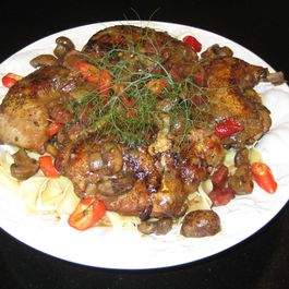 Chicken Braised in Virginia Spiced Wine with Shallots & Crimini Mushrooms over Noodles
