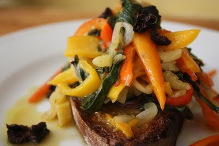 Crostoni with Rainbow Chard, Gypsy Peppers & Black Oil Cured Olives
