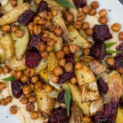Roasted Root Veggies with Crispy Chickpeas and Hummus