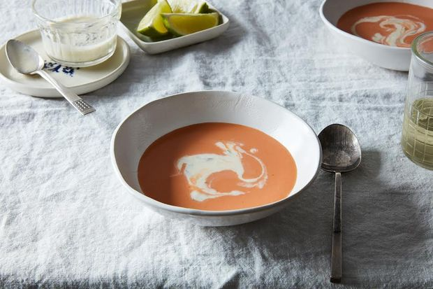 Creamy Chilled Horseradish Soup with Tomato and Green Apple