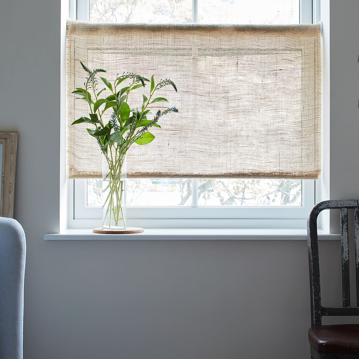 For Soft Light And Farmhouse Vibes Diy Rustic Burlap Roller Shades