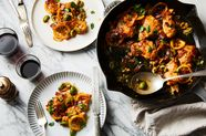 Skillet Chicken with Pancetta, Torn Olives & Caramelized Lemons