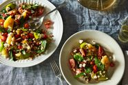 Tomato Salad with Grilled Corn, Feta, and Hazelnuts