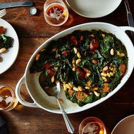 Roasted Sausage, Chard, and Cannellini Beans