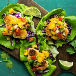 Coconut-Crusted Chicken Lettuce Wraps with Mango Lime Salsa