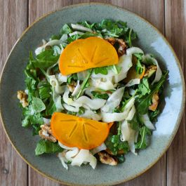 Shaved Fennel Persimmon and Walnut Salad