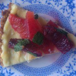 Feta Cheese Tart with Walnut Crust and Honeyed Blood Orange & Mint Salad