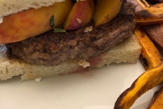Grilled peach lamb burgers