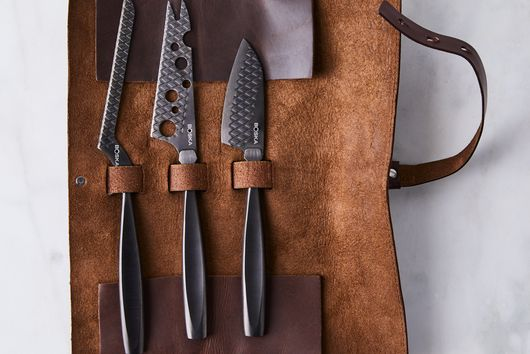 Monaco Black Cheese Knife set with Leather Roll