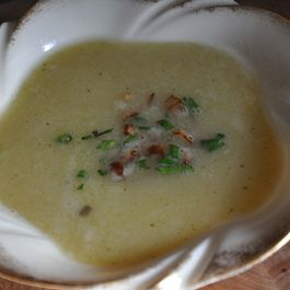 Ramp and Watercress Soup with Crispy Shallots