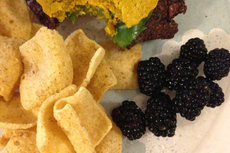 Blackberry Peach Quinoa Burgers on Sweet Potato Buns