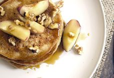 Fluffy Oatmeal Pancakes with Turmeric Spiced Maple and Peaches
