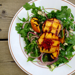 Grilled Peach, Arugula and Blue Cheese Summer Salad