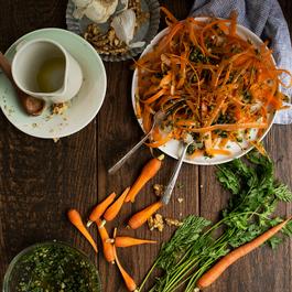 Carrot Top Pesto + Carrot Ribbon Salad