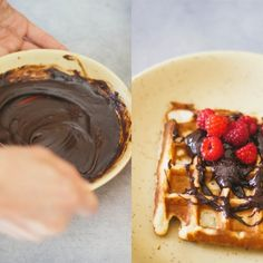 Vegan waffles with chocolate sea salt ganache