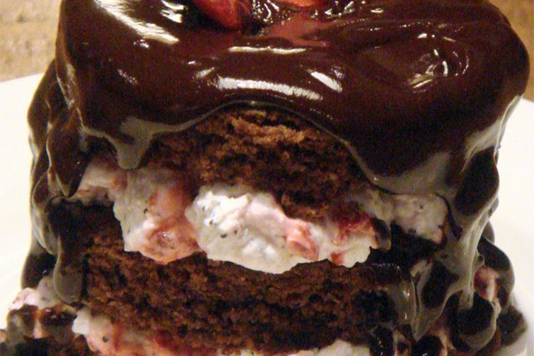 Chocolate and Almond Cake with Raspberries and Poppy Seeds Cream