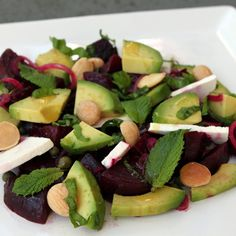 Avocado and Roasted Beets with Black Olives, Ricotta Salata and Marcona Almonds