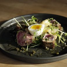Tuna with a Soft Egg, Lemon, and Capers