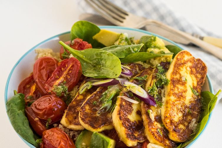 Grilled Haloumi Couscous Salad