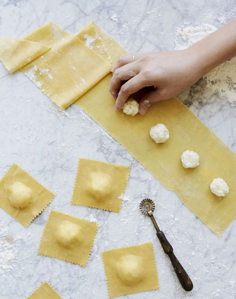 Ravioli in the making.