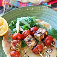 Homemade Grilled Paneer Kabobs in Moroccan Chermoula Sauce