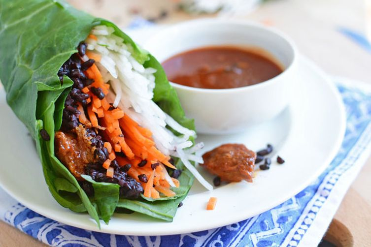 Senposai, Daikon, and Chili Garlic Chicken Wraps