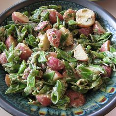 New Potato and Pea Salad with Mustard and Mint