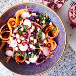 Purple Cabbage Slaw with Hazelnuts and Pomegranate