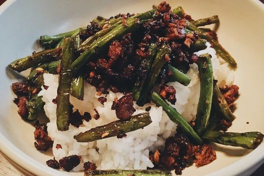 "Sichuan Green Beans with ""Pork"""