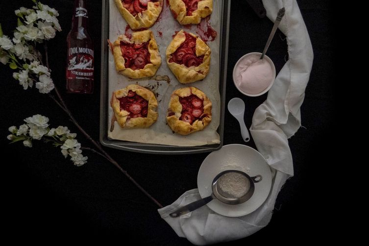 Personal Strawberry Soda Galettes with a Whipped Strawberry Soda Cream