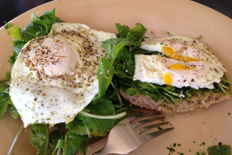 Pesto, arugula, egg breakfast