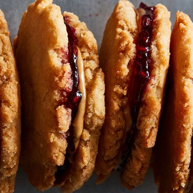Coconut PB&J Sandwich Cookies
