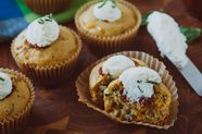 Savory Corn and Basil Muffins with Ricotta and Tomato Jam